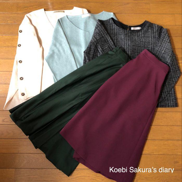 airCloset プラスサイズプラン(大きいサイズ)届いた服5着の写真